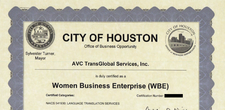 Leading provider of Certified Translation in Houston AVC TransGlobal, Inc. achieves WBE/MBE Certification by The City of Houston